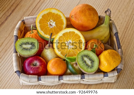 Basket with various fruits with great colors and amazing light