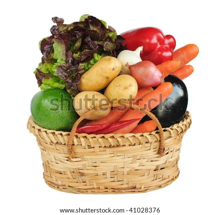 Basket with vegetables - stock photo