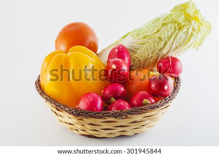 basket with vegetables, selective focus