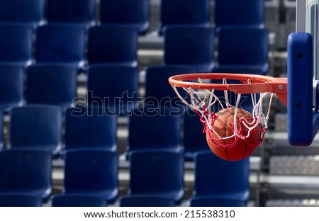 Basketball action finished scoring point - stock photo