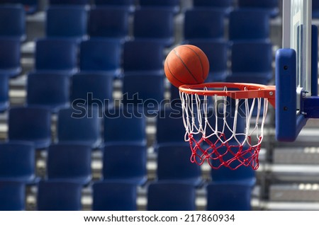 Basketball action missing the point - stock photo