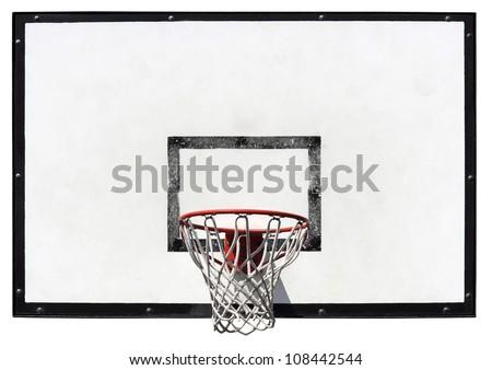 Basketball backboard on the school basketball court isolated on white background - stock photo