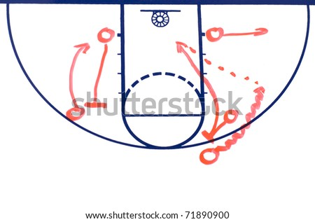 Basketball background diagram on a white board showing a pick and roll play - stock photo