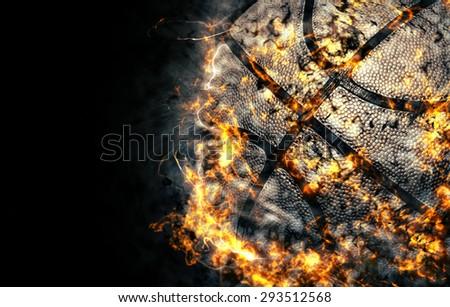 Basketball background. Fire illustration. - stock photo