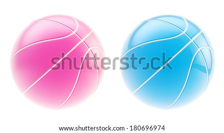 Basketball ball 3d render isolated over white background, set of two: glossy blue and pink colors - stock photo