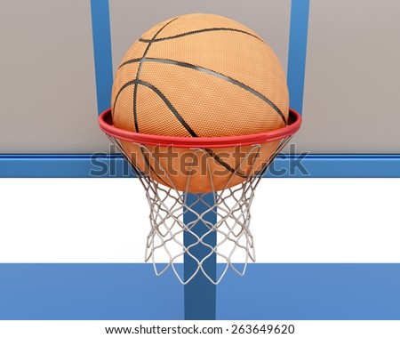 Basketball ball falling into a ring close-up. 3d illustration - stock photo