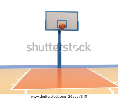 Basketball ball falling into a ring. 3d render image. - stock photo