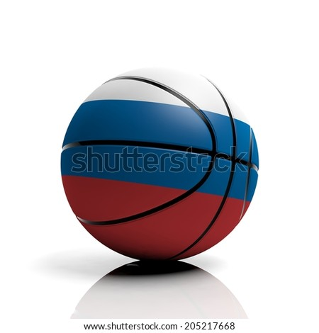 Basketball ball flag of Russia isolated on white background