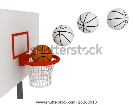 Basketball ball in basket. Isolated on white background - stock photo