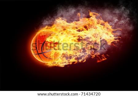 Basketball Ball on Fire - stock photo