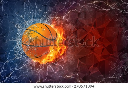 Basketball ball on fire and water with lightening around on abstract polygonal background. Horizontal layout with text space. - stock photo