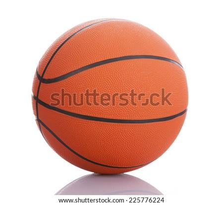Basketball ball on white background - stock photo