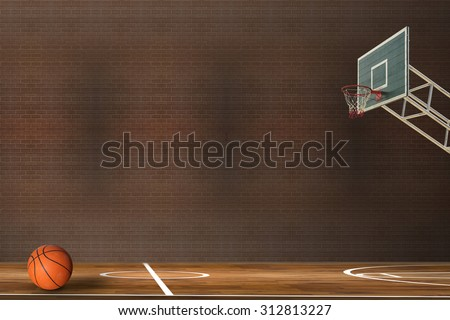 Basketball ball over hardwood basketball court
