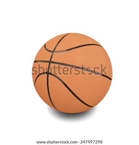 Basketball ball over white background. 3d render image. - stock photo