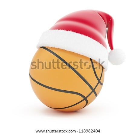basketball ball santa hat on a white background - stock photo