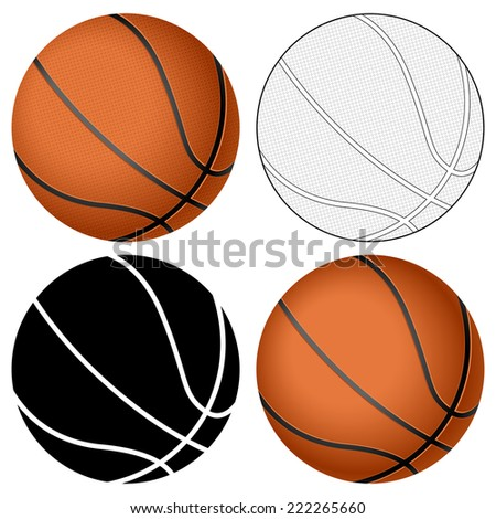 Basketball ball set isolated on a white background. - stock photo
