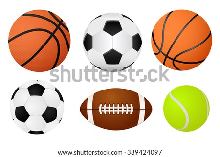 Basketball ball, soccer ball, tennis ball and american football.  Illustration isolated on white background. Raster version