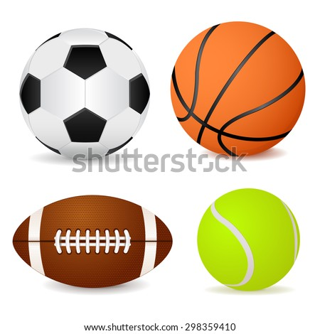 Basketball ball, soccer ball, tennis ball and american football isolated on white background. Raster version - stock photo