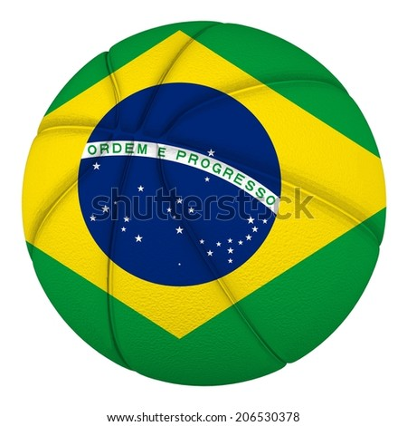 Basketball ball with Brazil flag. Isolated on white.