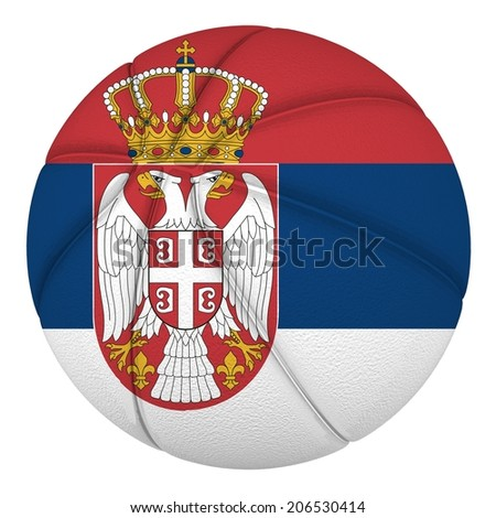Basketball ball with Serbia flag. Isolated on white. - stock photo