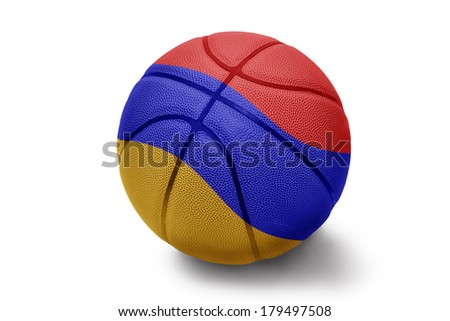 Basketball ball with the national flag of Armenia on a white background