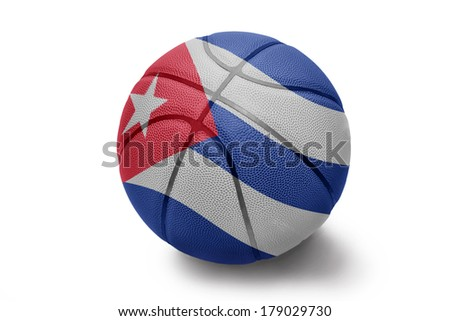 Basketball ball with the national flag of Cuba on a white background - stock photo