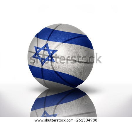 basketball ball with the national flag of  israel on a white background - stock photo