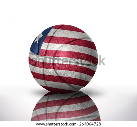 basketball ball with the national flag of liberia on a white background