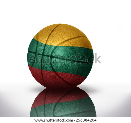 Basketball ball with the national flag of lithuania on a white background - stock photo