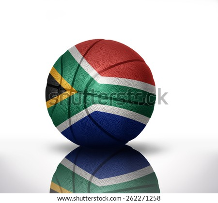 basketball ball with the national flag of south africa on a white background - stock photo