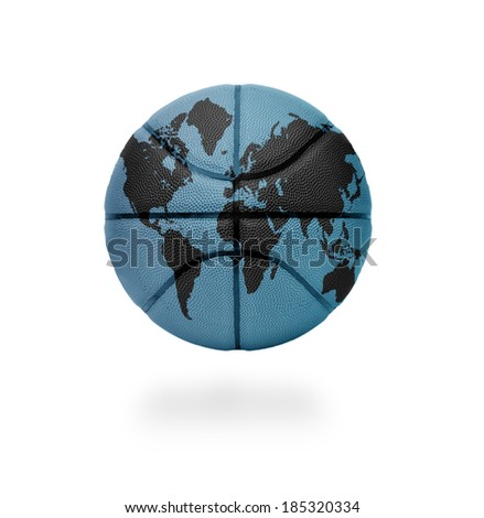 Basketball ball with the world map on white background