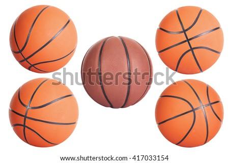 Basketball balls isolated on white background - stock photo