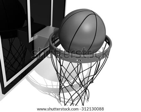 Basketball board.basketball on a white background - stock photo
