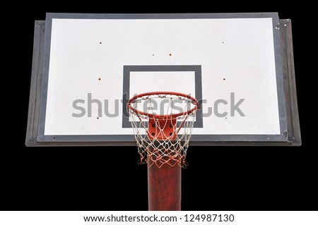 Basketball board on black background with Clipping Part - stock photo