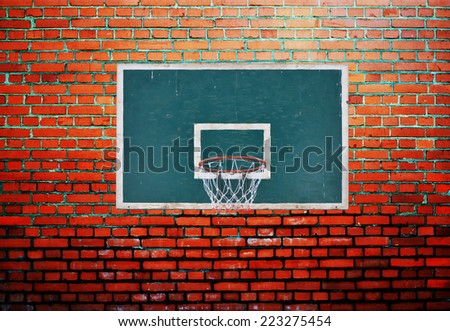 Basketball board on orange background wall - stock photo