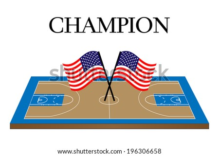 Basketball Champion Court with United States Flag