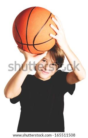 basketball child isolated on white - stock photo