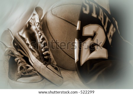 basketball collage, old sneakers, basketball and jersey sepia-toned