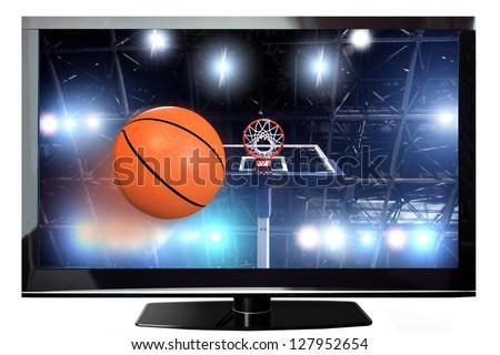 Basketball concept on a modern plasma TV - stock photo