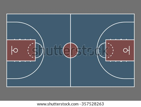 Basketball court / field - top view. Proper markings and proportions according standards.