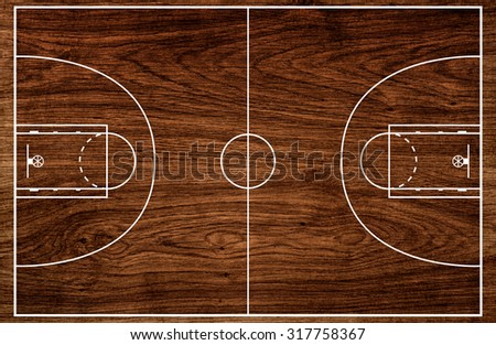 Basketball court floor plan on old wooden pattern