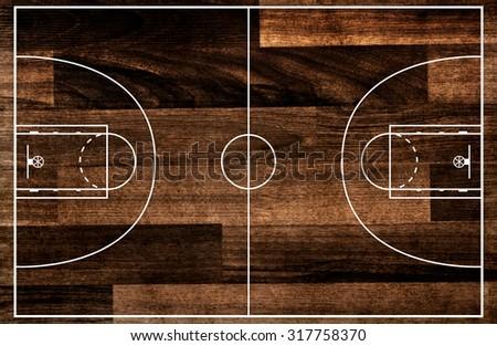 Basketball court floor plan on old wooden pattern - stock photo