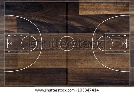Basketball court floor plan on wooden pattern - stock photo