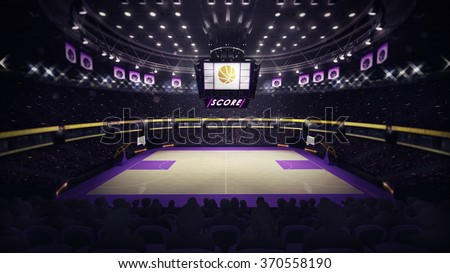 basketball court general side view, sport topic arena interior illustration