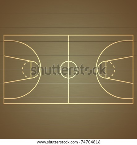 Basketball Court on wood texture background - stock photo