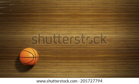 Basketball court parquet floor with classic ball - stock photo