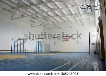 Basketball court, school gym indoor