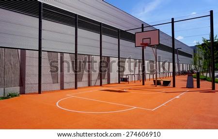 Basketball court sport outdoor public horizontal - stock photo