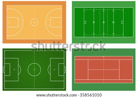 Basketball court. Tennis court. American football field. Sport set. Soccer field. Green football stadium Top view. Raster version. Illustration isolated on white.