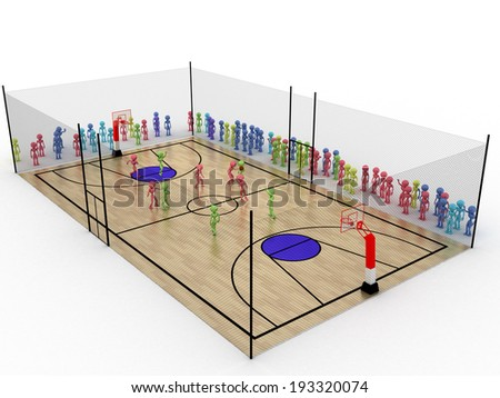 Basketball court with a protective grid on a white background.  - stock photo